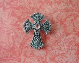 Turqoiuse metal  goth cross pendent 50 % OFF