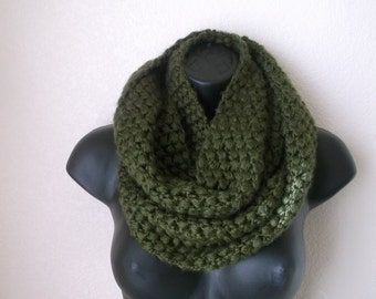 Chunky Olive Green  Crocheted Scarf