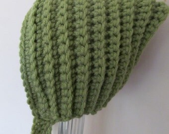 Crochet Baby Hat, Green Gnome Pixie Hat Bonnet , Photography Prop, 4 sizes 0-24 Months
