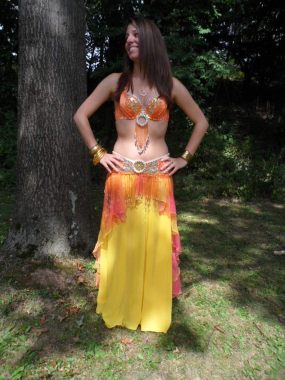 Yellow orange and apricot cabaret belly dance costume size
