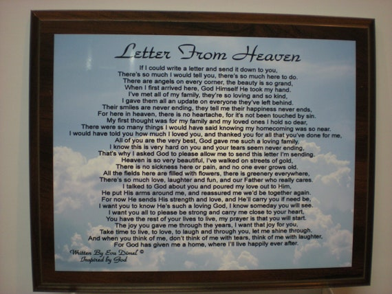 Letters From Heaven Poems Letter From Heaven For Loss of