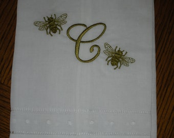 Monogrammed Linen Towel- French Bee Accent