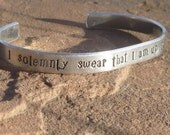 "Harry Potter Inspired Cuff Bracelet - ""I Solemnly Swear That I am up to no Good"""