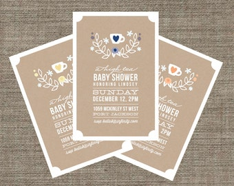 High Tea Baby Shower Invitation - Tea Party Invite for baby boy or girl - Kraft Paper Style - Printable pdf with Laurel Wreath & Heart Motif
