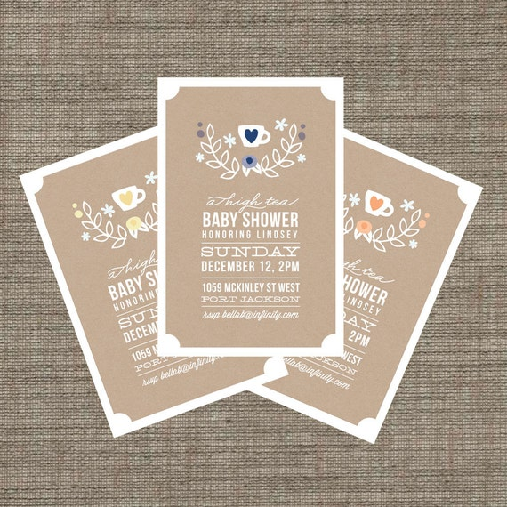high tea baby shower invitation tea party invite for baby boy or