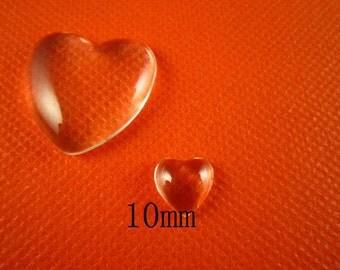 100pcs 10mm glass cabochon heart shape domed glass
