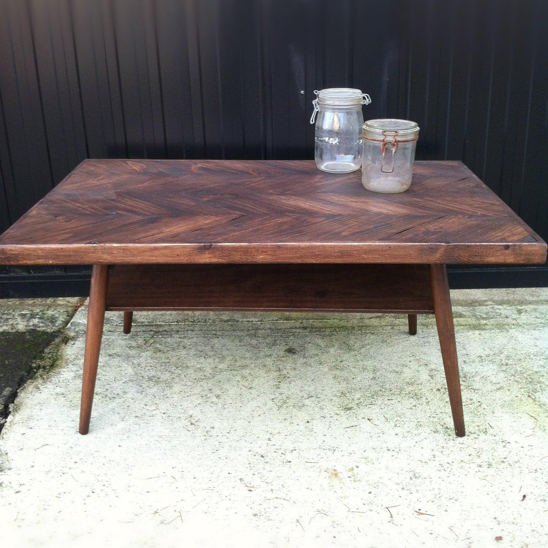 Danish Modern Herringbone Coffee Table