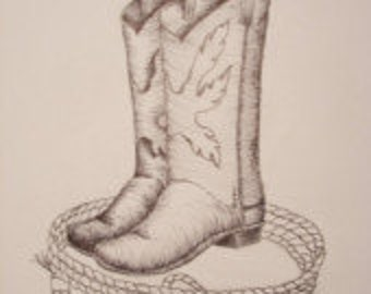 "Print, Pen and Ink Drawing of Cowboy Boots and Rope 81/2"" X 11"""
