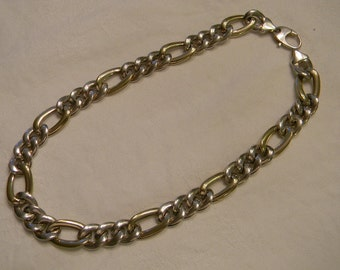 "Classic Fashion 925 Sterling Silver Large Showy Gold Vermeil Necklace 17.5"" Long 49.7g #3105"