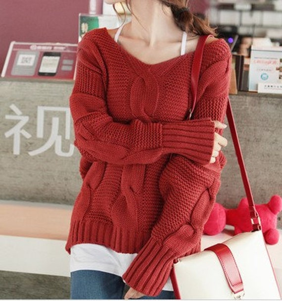 Red / Navy Blue / Grey wool women sweater loose style women sweater Apring Autumn Winter--SE066