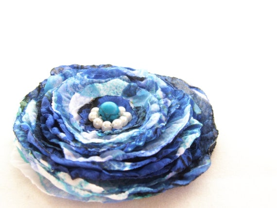 Flower Fabric Brooch Pin in blue white color middle size