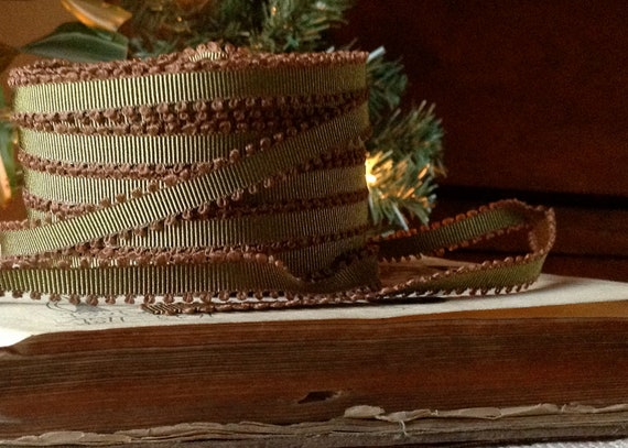 olive green grosgrain ribbon 2 yards
