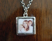 Personalized Photo Necklace in Antique Silver