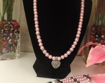 Pink Pearl Necklace with Heart Charm/ bracelet
