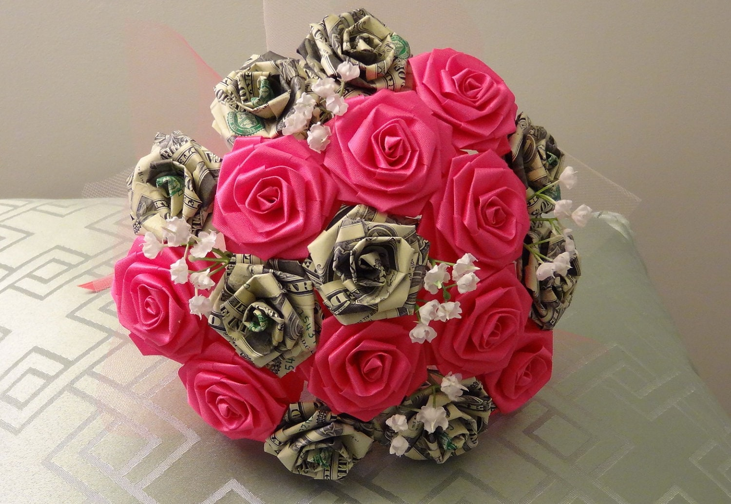 Money Bunches Of Love Money & Origami Flower Bouquet/ Tossing