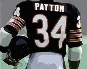Rare Walter Payton Chicago Bears Art Lithograph only 50