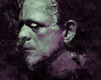 New Frankenstein Karloff Art Portrait Print sn only 50, 12 x 18