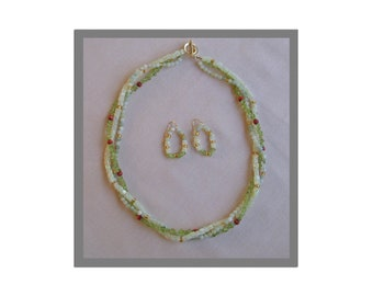 Light Green Stone Necklace and Earrings