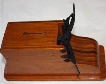 Rare 1940s Lace-A-Bootie Wooden Shoe & Lace Bank