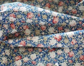 Natural Cotton Fabric by the Yard Blue Rose Floral for DIY Apparel,Cushion,Bags 0.5 Yard