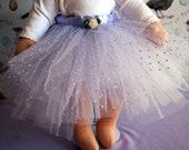 Lavender hail spot tuile and white tuile Tutu