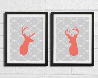 Set of Two Modern Deer Head Silhouette Prints - 8 x 10 Print