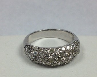 Pave Diamond Wedding Ring in 14kt White Gold