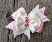Ribbon hair bow french clip barrette for Girl Puppy Dog Pet (SweetHeart)