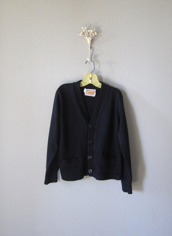 Vintage Boys Sweater // Childs Navy Blue Grandpa Sweater // 5T