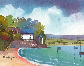 Watercolour Print, Dylan Thomas, Boat House, Laugharne, Wales, 8x6, Christmas Gift Idea, Art and Collectables, Home and Living