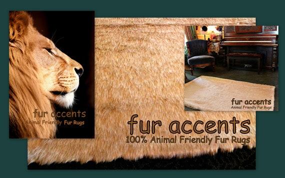 7 Lion Skin Pelt Area Accent Rug Faux Fur By Furaccents