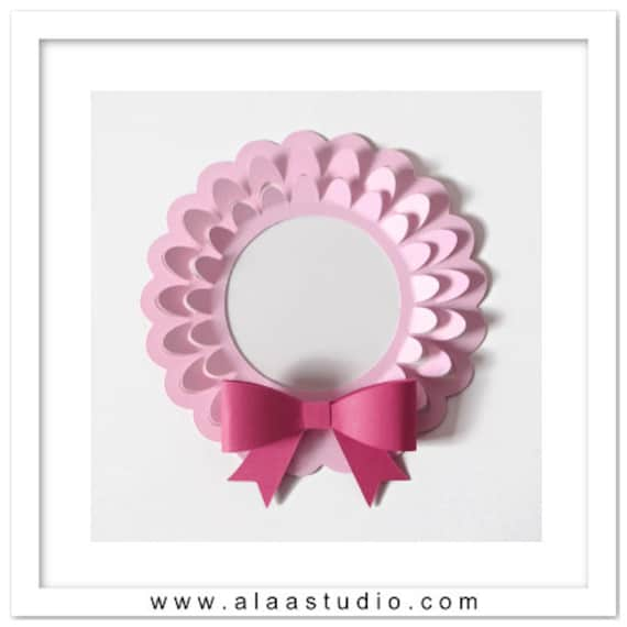 Pop out wreath/ frame with 3D bow cutting files templates in SVG, DXF, PDF formats