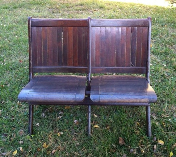 Antique wood double folding chairs