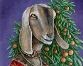 Renaissance Lady Nubian Goat Portrait fine art print
