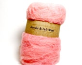 Light coral needle felt wool, felting batts,wool batts wool for needle felting, light pink, 1 oz