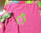 Turtle Monogrammed Bath Time Apron with Matching Bath Mitt for Infants or Pets
