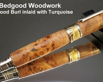 Pen fountain custom Cottonwood Burl inlaid with Turquoise, custom fountain pen