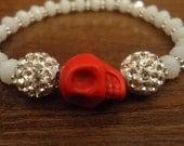RESERVED Cute red and white skull shamballa bracelet