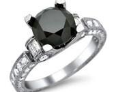 4.04ct Black Round & Baguette Diamond Engagement Ring 18k White Gold