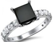 2.64ct Black Princess Cut Diamond Engagement Ring 18k White Gold