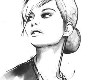 Original Watercolor Fashion Illustration Modern Art Black and White Portrait Painting titled Daintiness