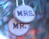 Our First Christmas Ornament 2012, Reclaimed Wood Tree Slice, Mr and Mrs, Wood Christmas Ornament - EndGrainWoodShoppe