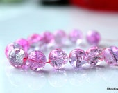 10 mm Pink And Mauve Crackle Beads x 10