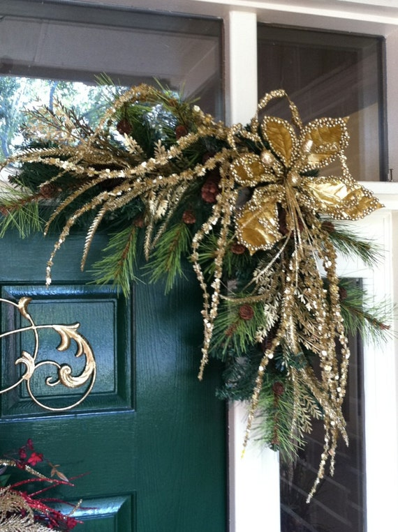 Reserved For Susan C Gold Christmas Swags By Greatwoodflorals