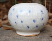 vintage stoneware jardiniere // white and blue stoneware pot // farmhouse decor