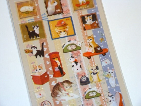 Kawaii Stickers Cute Cats Scrapbooking Japanese Stationary PVC 2 Sheets