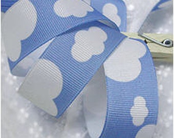 Ribbon Tape White Clouds on Blue 5 Yards 9422