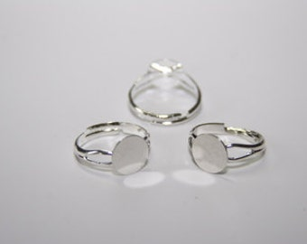 5 Piece ring blanks, silver plate 10 mm R003