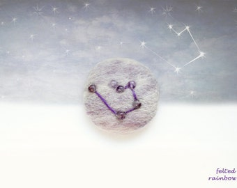 Gifts for Aquarius, Needle felted brooch, Aquarius Zodiac, Constellation brooch, Aquarius brooch, Amethyst stone, Purple brooch