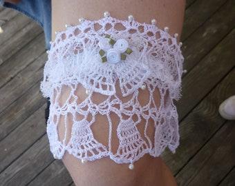 Wedding Garter Hand Crocheted Wedding Bell with Pearls